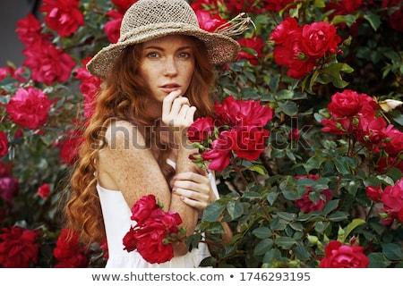 портрет женщину красную розу лице красоту красный Сток-фото © photography33