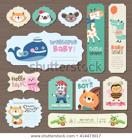cute · bébé · douche · carte · zèbre · heureux - photo stock © balasoiu