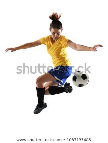 joven · balón · de · fútbol · pie · vertical · foto · blanco - foto stock © w20er