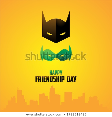 Cute cartoon batman masked superhero Stock photo © antonbrand