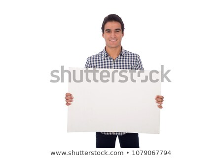 Skinny Man Holding Sign Stock photo © cteconsulting