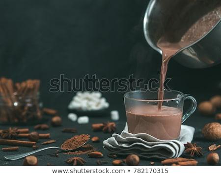 Sıcak çikolata ahşap mutlu cam çikolata kış Stok fotoğraf © yelenayemchuk