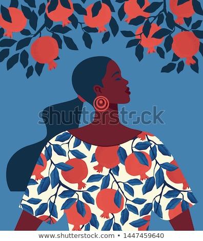 Gyönyörű lány szövetek káprázatos nő áll piros Stock fotó © svetography