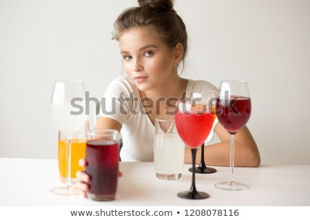 Adolescente verres séance droite table belle Photo stock © deandrobot