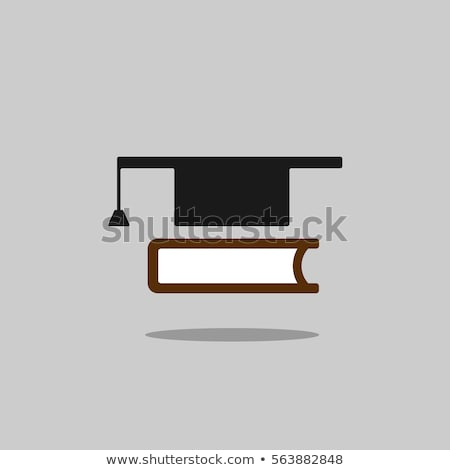 Mortarboard with book icon on grey background with shade Stock photo © Imaagio