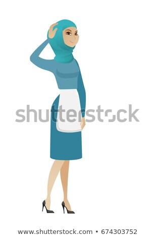 Young muslim cleaner scratching her head Stock photo © RAStudio