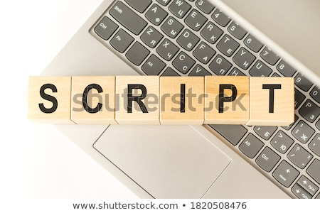 Certifié clavier d'ordinateur portable main jeune homme bleu clé Photo stock © tashatuvango