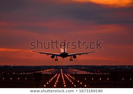 Aterrizaje pista ilustración cielo paisaje Foto stock © bluering