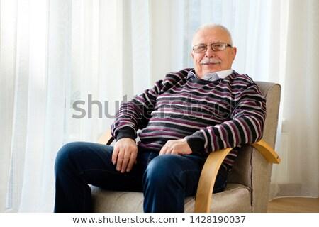 glimlachend · senior · man · cardigan · leeftijd · mode - stockfoto © is2