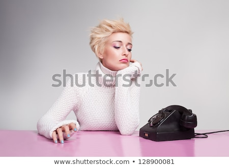 Woman waiting for telephone to ring Stock photo © IS2