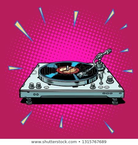 コミック リスニング 音楽 ビニール 実例 笑みを浮かべて ストックフォト © tiKkraf69