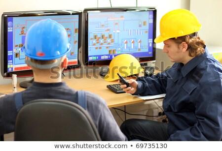 工場労働者 保護 コート 作業 コンピュータ 食品 ストックフォト © toyotoyo