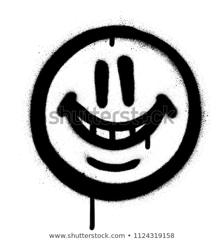 graffiti whimsical smile emojo sprayed in black on white Stock photo © Melvin07