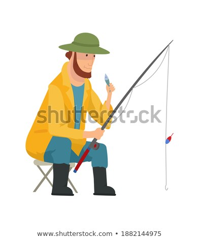 Set of Fishers with Catch Isolated on White Banner Stock photo © robuart
