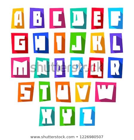 hand · gesneden · vector · cartoon · alfabet · ingesteld - stockfoto © ecelop