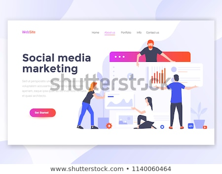 web page design template for digital marketing mobile solutions networking and email marketing mo stock photo © makyzz