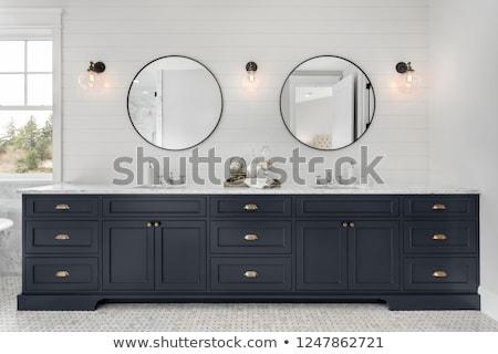 white master bathroom with double sink vanity stock photo © iriana88w