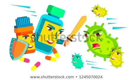 pill fighting with sword and shield against bacteria attacking it medical protect concept vector i stock photo © pikepicture