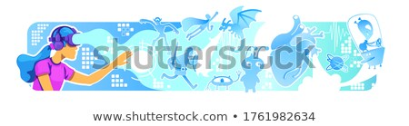インタラクティブな · 現実 · ポスター · セット · ポスター · 文字 - ストックフォト © robuart