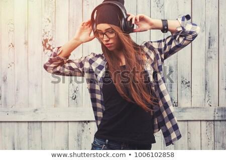 ragazza · occhiali · cuffie · nero · felice - foto d'archivio © doodko