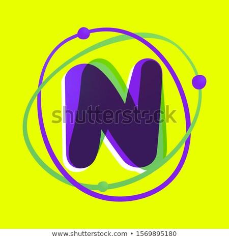 blue green letter n ellipse logo vector icon stock photo © blaskorizov