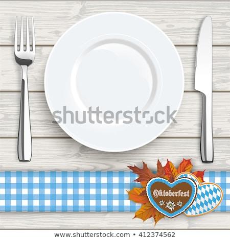 Checked Table Cloth Heart Knife Fork Stock photo © limbi007