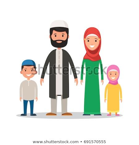 Moslim familie witte kostuum illustratie vrouw Stockfoto © colematt