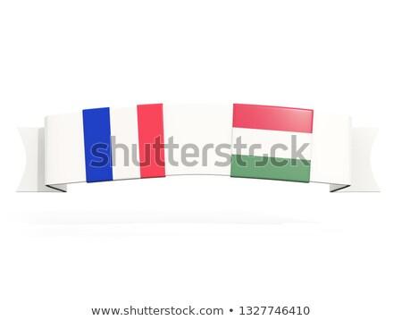 Afiş iki kare bayraklar Fransa Macaristan Stok fotoğraf © MikhailMishchenko