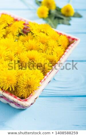 pissenlit · fleurs · panier · table · fraîches · alimentaire - photo stock © madeleine_steinbach