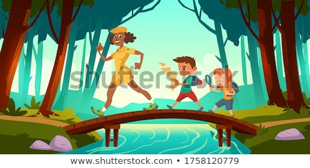 Scene with kids scouting the forest Stock photo © colematt