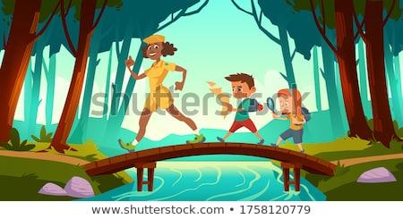 Sahne çocuklar orman örnek çocuk manzara Stok fotoğraf © colematt