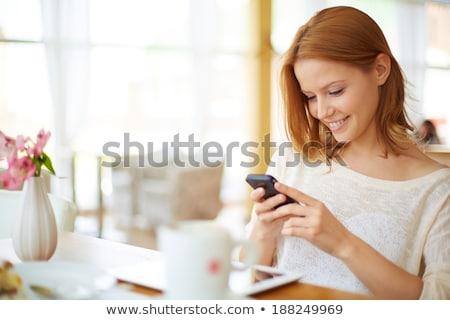 молодые Cute красивой Lady мобильного телефона Сток-фото © deandrobot