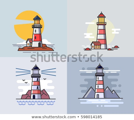 vector flat outline Lighthouse beacon set Stockfoto © VetraKori