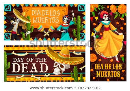 halloween day of the dead design with skulls   mexican papel picado decoration with flowers and geo stock photo © redkoala
