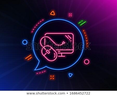 Компьютерная мышь неоновых Label электроника поощрения интернет Сток-фото © Anna_leni