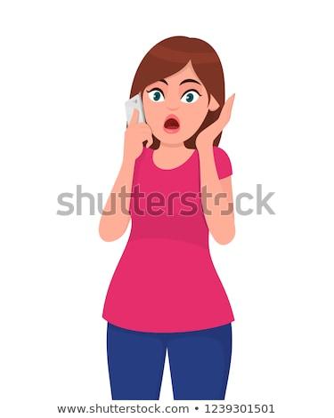 женщину удивленный человека телефон разговор Сток-фото © rogistok