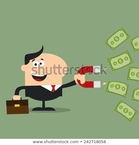 Glimlachend manager magneet ontwerp stijl business Stockfoto © hittoon