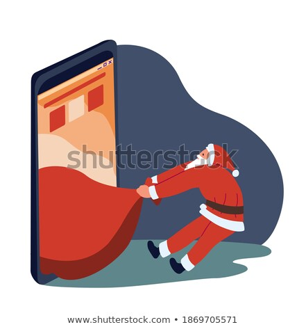 Santa Claus and a big smartphone. Electronic Christmas sales and orders in online stores Stock photo © studiostoks