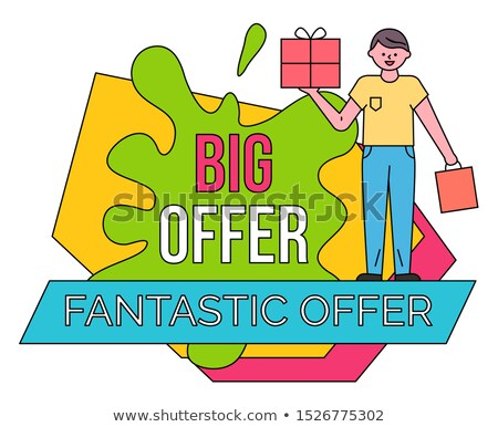 Man with Shopping Bag and Box, Big Fantastic Offer Stock photo © robuart