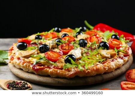 свежие пепперони итальянский пиццы черный Сток-фото © DenisMArt