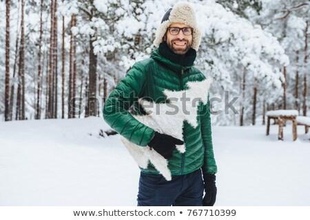 Kellemes néz szakállas férfi meleg ruházat Stock fotó © vkstudio