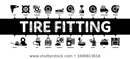 Tire Fitting Service Minimal Infographic Banner Vector Stock photo © pikepicture