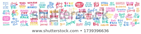 Blijven home veilig leven sticker Stockfoto © almagami