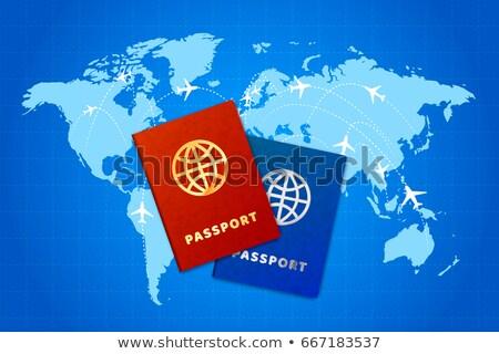 Casal mapa do mundo companhia aérea brilhante negócio aeroporto Foto stock © evgeny89