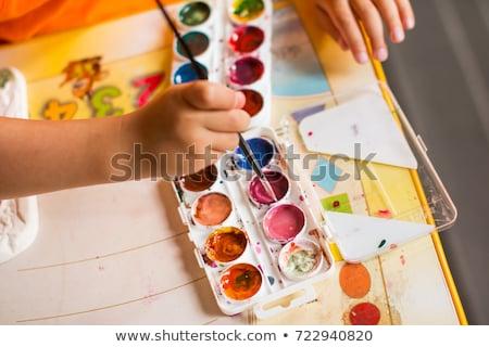 Arco-íris pintura crianças desenho colorido positividade Foto stock © Maridav