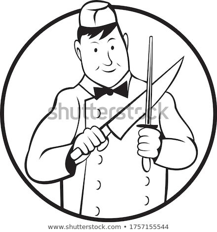 Butcher Sharpening Knife Front View Circle Cartoon Black and White Stock photo © patrimonio