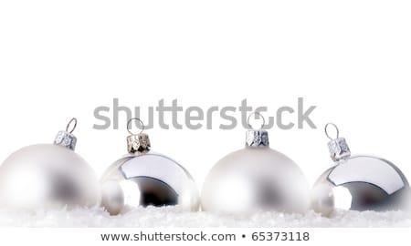 ezüst · kék · karácsony · golyók · akasztás · damaszt - stock fotó © lightkeeper
