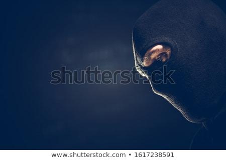 portre · hırsız · siyah · el · feneri · arka · plan · maske - stok fotoğraf © tiero