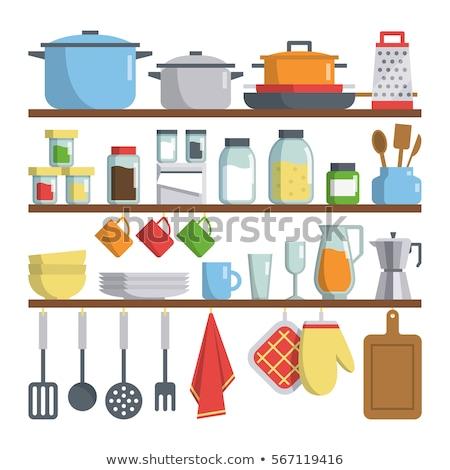ビッグ セット 台所用品 ベクトル ホーム ストックフォト © leonido