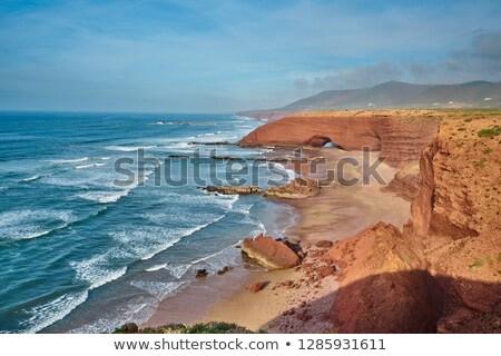 Marrocos costa pescador cabana praia sul Foto stock © ajlber